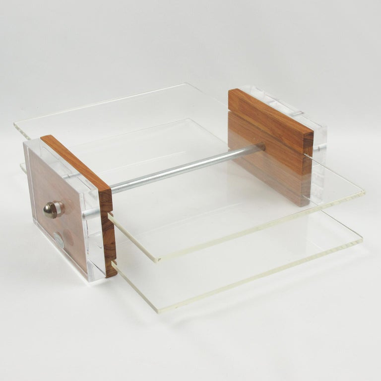 Herb Ritts Astrolite Collection Modern Lucite and Oak Desk Set Accessory, 9 Pc For Sale 2
