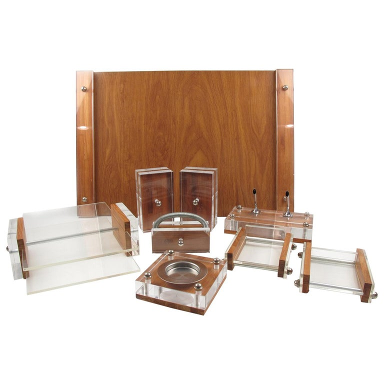Herb Ritts Astrolite Collection Modern Lucite and Oak Desk Set Accessory, 9 Pc For Sale