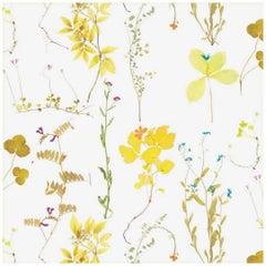 Herbario Designer Wallpaper in Color Canary 'Multicolor Yellows on White'