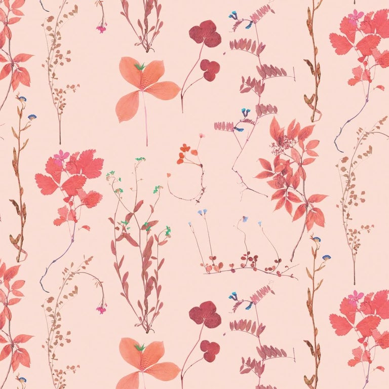 Herbario Designer Wallpaper In Color Peche Red And Pink Multi Color On Peach