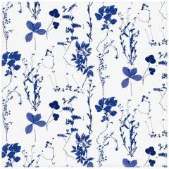 Herbario Designer Wallpaper in Color Royal 'Multi-Color Blues/Cobalt on White'