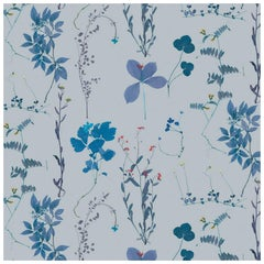 Herbario Designer Wallpaper in Satellite 'Multicolor Blues on Blue-Grey'