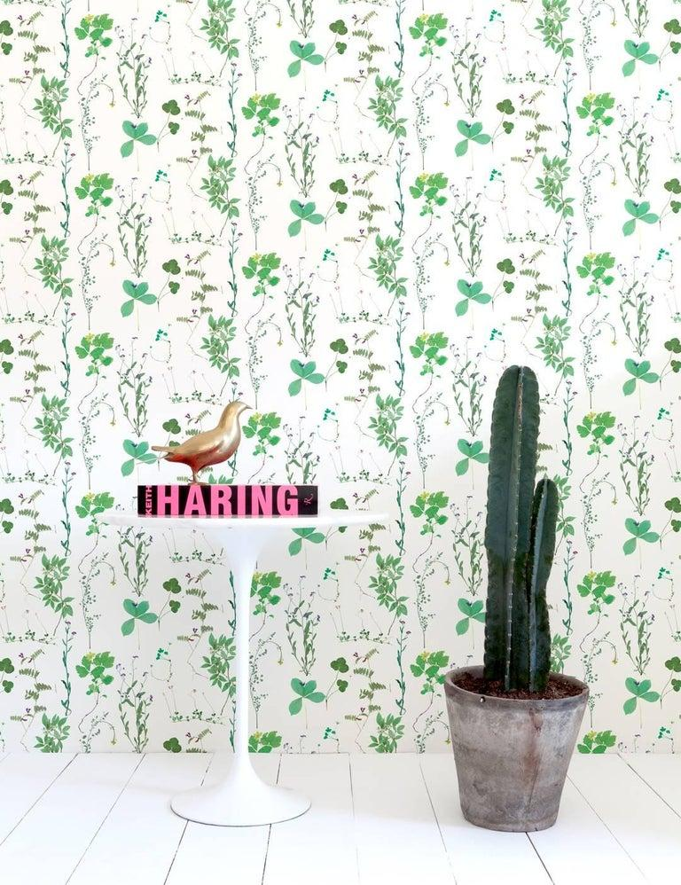 Herbario Designer Wallpaper in Sprout 'Multi-Color Greens on White' In New Condition For Sale In Brooklyn, NY