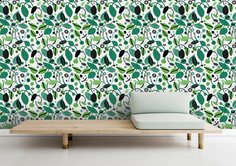 Contemporary Herbarium - custom mural wallpaper  (4 color proposals) For Sale
