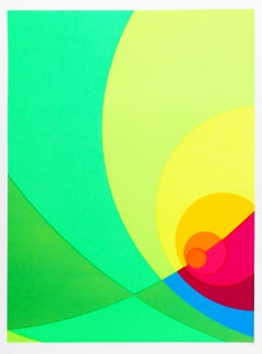 Split Infinity #4BS, Colorful Geometric Silkscreen by Herbert Aach