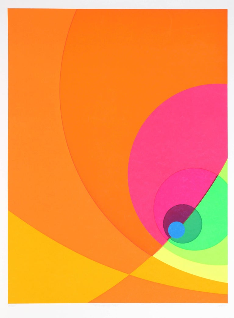 This serigraph was created by German Op artist Herbert Aach. Aach's prints play with geometry and form, and trick the viewer's eyes by juxtaposing bright neon colors. This print is signed and numbered in pencil and comes from an edition of 200 and