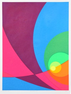 Split Infinity #B15, Colorful Geometric Silkscreen by Herbert Aach