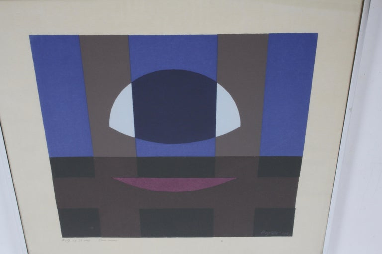 Mid-Century Modern Herbert Bayer, Blue Moon Lithograph, Bauhaus Artist For Sale