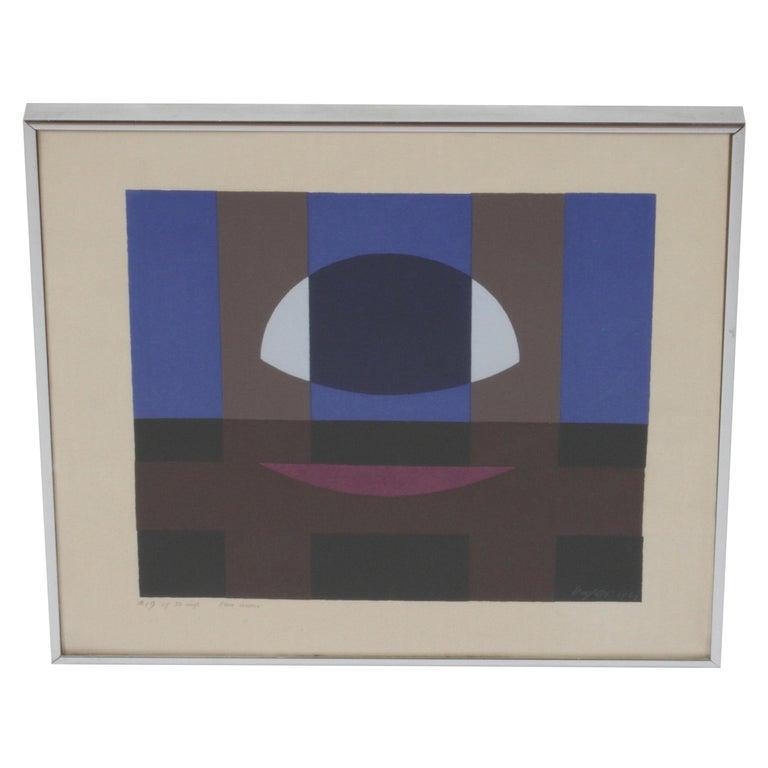 Herbert Bayer, Blue Moon Lithograph, Bauhaus Artist For Sale
