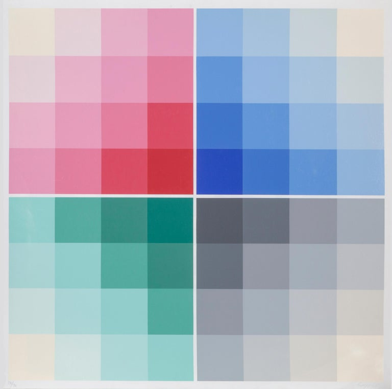 Artist: Herbert Bayer, Austrian (1900 - 1985) Title: Four Scales Year: 1968 Medium: Screenprint, signed and numbered in pencil Edition: 28/70 Size: 35 x 35 inches Sheet: 37 x 36 inches  Printed and Published by Edition Domberger, Germany