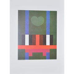 "Herbert Bayer ""Structure and Moon on Green"" Lithograph c.1965"