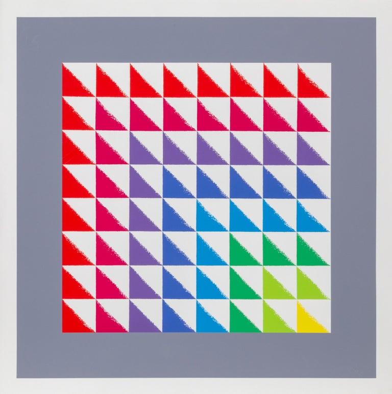 Artist: Herbert Bayer, Austrian (1900 - 1985) Title: Triangulated Squares Year: 1969 Medium: Screenprint, signed in pencil Size: 32 in. x 33 in. (81.28 cm x 83.82 cm)  Printed at Kelpra Studios, London