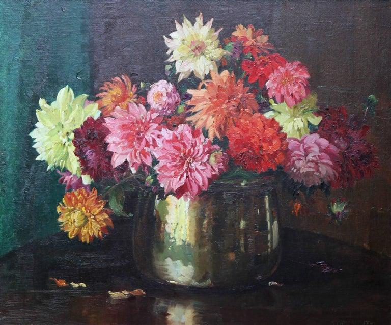 Dahlias - British Impressionist 1930's floral art oil painting flowers 2