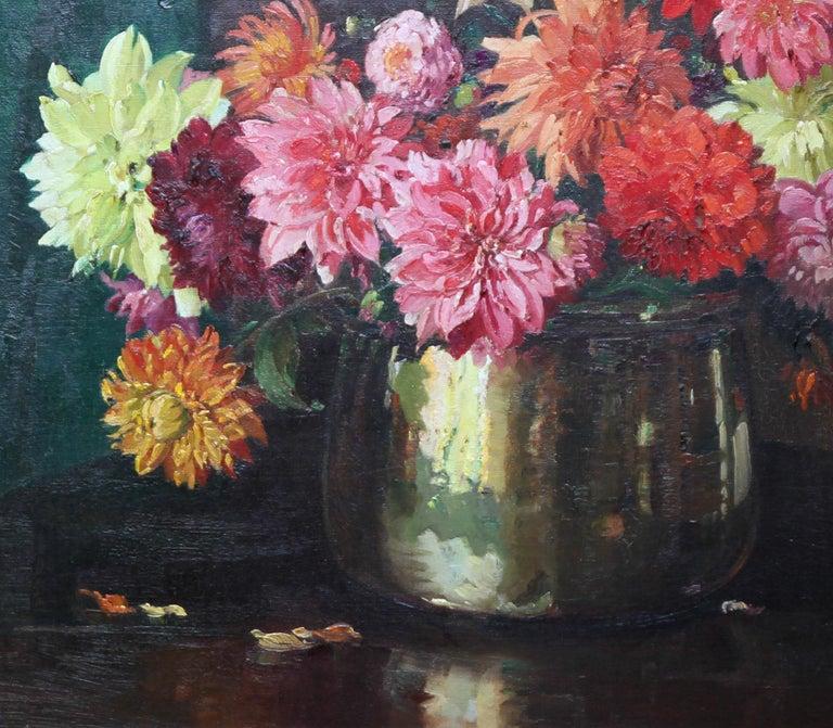 Dahlias - British Impressionist 1930's floral art oil painting flowers 3