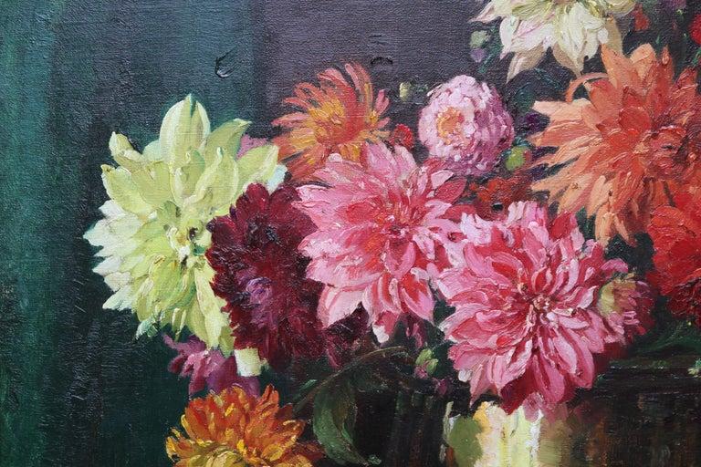 Dahlias - British Impressionist 1930's floral art oil painting flowers 4