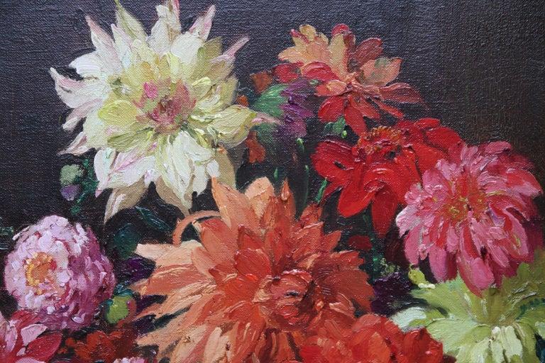 Dahlias - British Impressionist 1930's floral art oil painting flowers 5