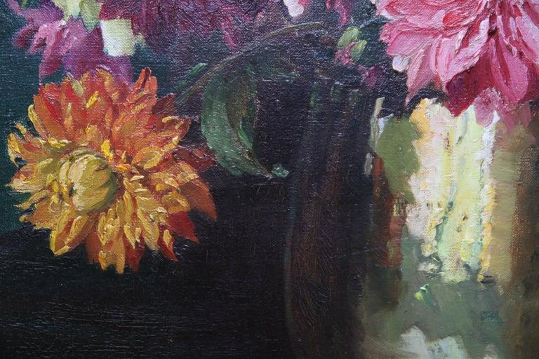 Dahlias - British Impressionist 1930's floral art oil painting flowers 6