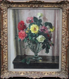 Fragrance - British 30s Art Deco floral still life oil painting red yellow roses