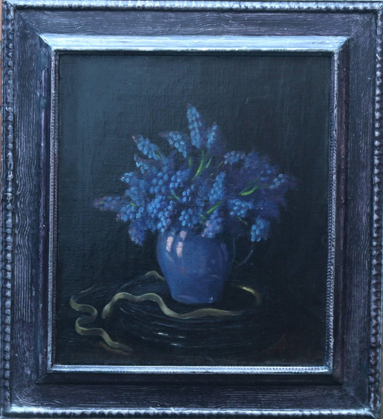 Grape Hyacinths - Floral still life British oil painting Post Impressionist blue