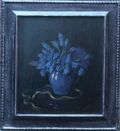 Grape Hyacinths - British art 1930's floral still life oil painting blue flowers