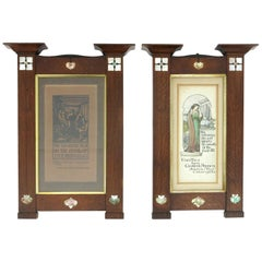 Herbert Davis Richter, Pair of Arts & Crafts Oak Pictures in the Original Frames