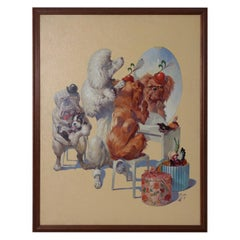 "Herbert Herget Whimsical Oil Painting ""Dog Hat Shop"" circa 1940s"