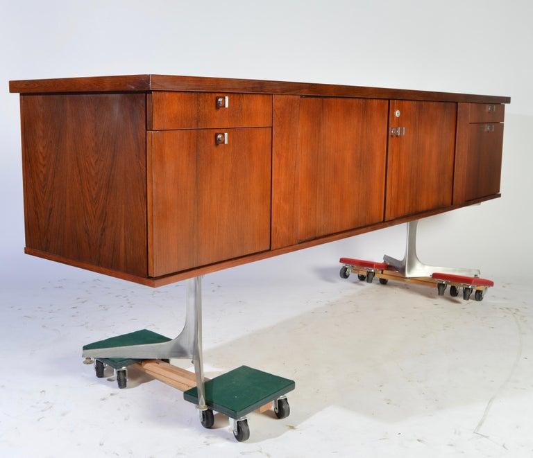Bauhaus Herbert Hirche Minimalist 'Top Series' Rosewood Credenza For Sale