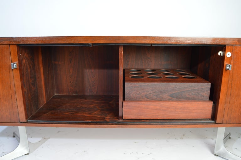 Aluminum Herbert Hirche Minimalist 'Top Series' Rosewood Credenza For Sale