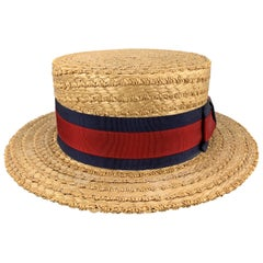 HERBERT JOHNSON Size 7 1/8 Straw Woven Red & Navy Grosgrain Boater Hat