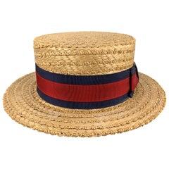 HERBERT JOHNSON Size 7 1/8 Straw Woven Red & Navy Grosgrain Boater Hat
