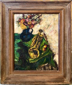 1950's Expressionist Interior Oil Painting Still Life with Flowers and Trumpet
