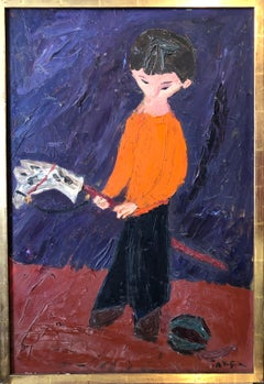 Boy Playing With Hobby Horse & Ball 1950's Expressionist Oil Painting Americana