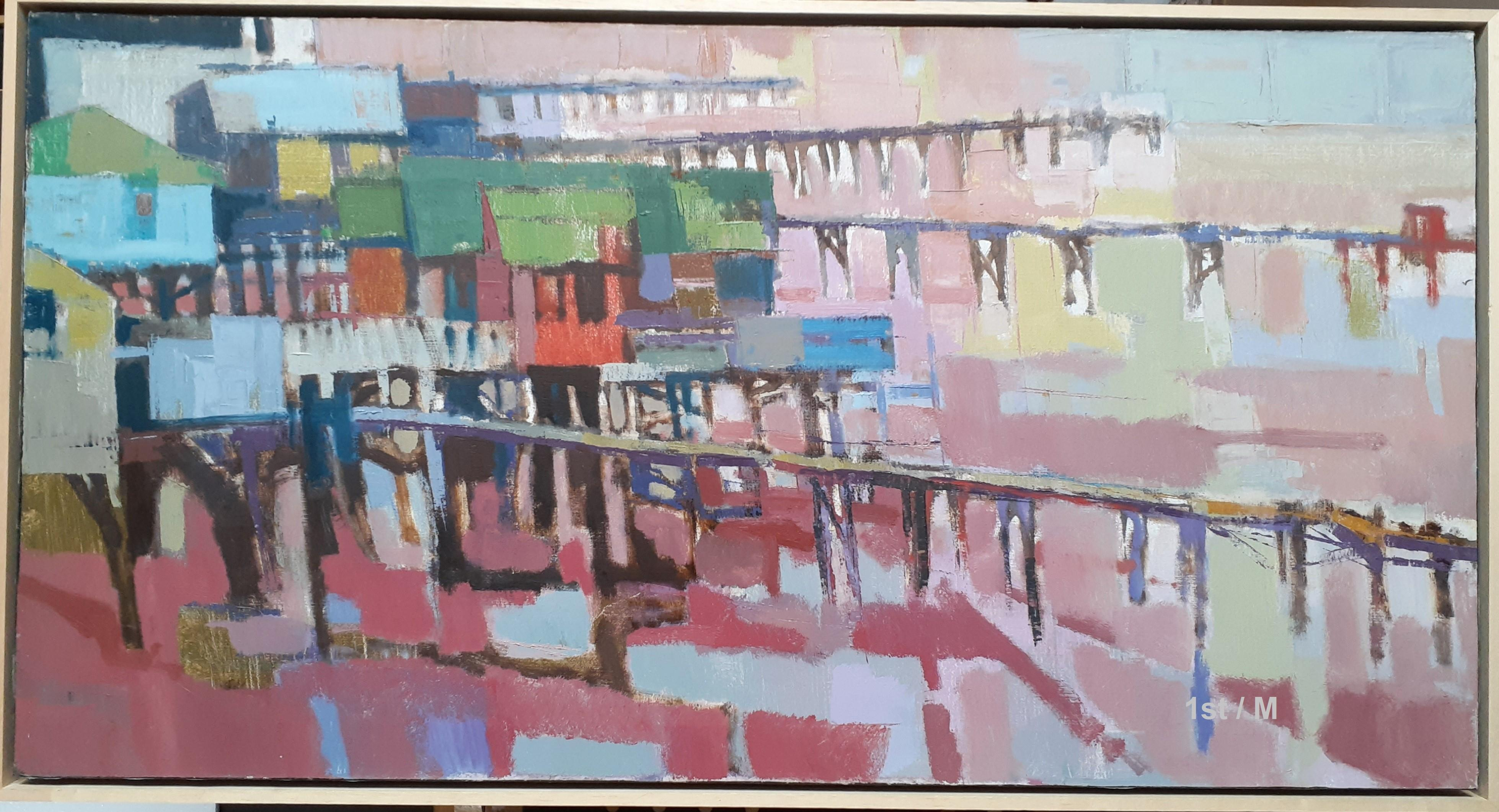 """Oil painting California landscapes - San Diego 42 x 22"""""""
