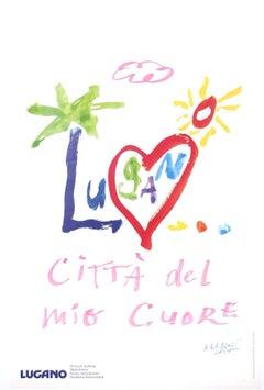 """""""Lugano...citta del mio cuore"""" Swiss Original Vintage Travel Poster"""