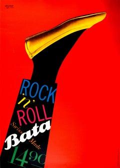 Original Vintage Poster Bata Shoes Swiss Made Rock N Roll Fashion Art Design