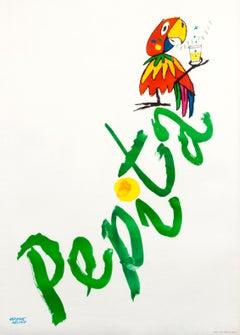 """Pepita"" Mid Century Swiss Grapefruit Soda Drink Parrot Original Vintage Poster"