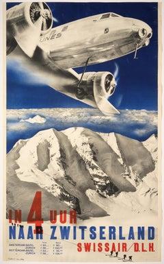 By Swissair to Amsterdam & Rotterdam – Original Swiss Vintage Airline Poster