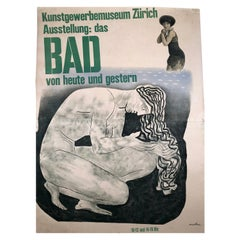 Herbert Matter Swiss Exhibition Poster on the History of Bathing and Swimming