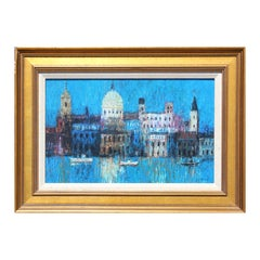 """""""Night Reflections"""" Abstract Blue Venice Grand Canal Scene Landscape Painting"""
