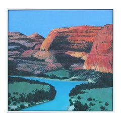 """""""Rio Grande"""" Colorful Abstract River Valley Nature Landscape Painting"""