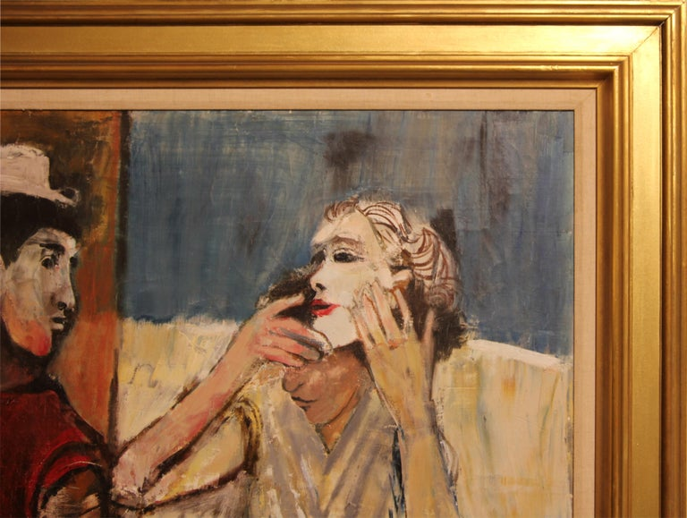 Abstract impressionist painting of two unmasked figures by Texas artist, Herbert Mears. Signed by the artist in the bottom right corner and is currently displayed in a gold frame with a white matte.   Dimensions Without Frame: H 60 in. x W 36 in.