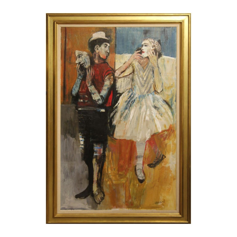 """Herbert Mears Abstract Painting -  """"Two Figures Unmasked"""" Abstract Impressionist Figurative Painting"""