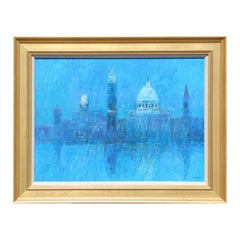 """""""Venice"""" Abstract Blue Toned Grand Canal Scene Landscape Painting"""
