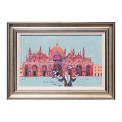"""""""Woman with Birds at St. Mark's Square"""" Basilica Venice Landscape Painting"""