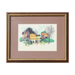 """""""Country Place"""" Colorful Modern Landscape of Houses Lithograph Edition 217/300"""