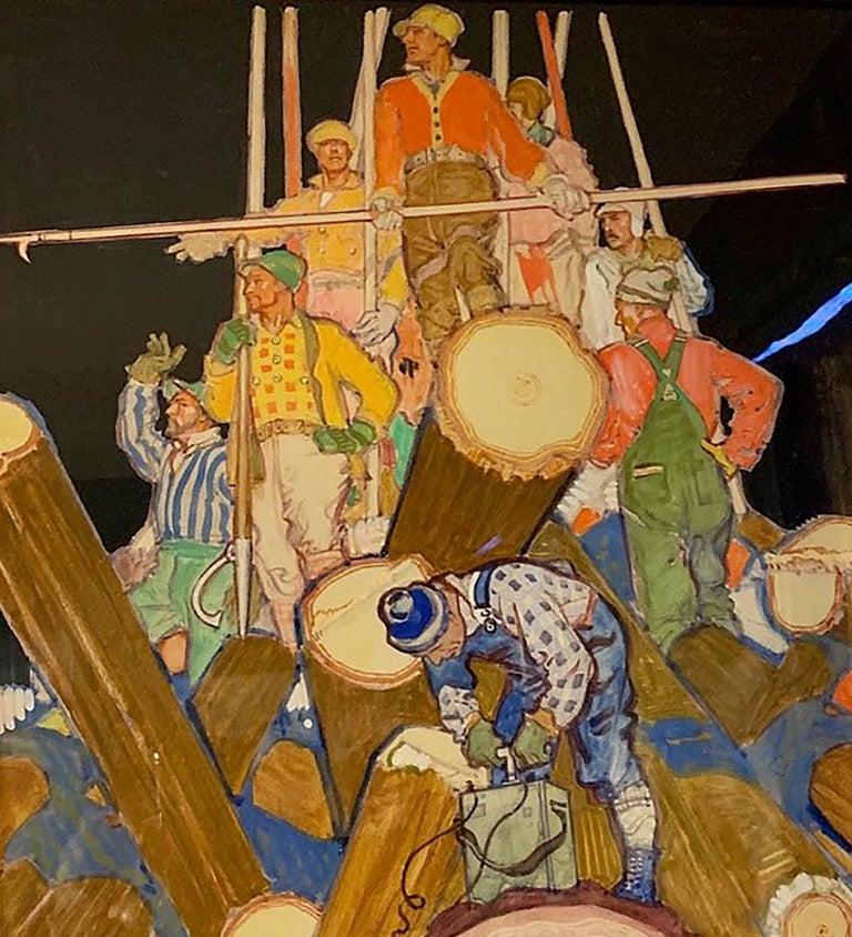 Herbert Paus Figurative Painting - Lumberjacks
