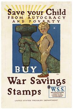 Save your Child, Buy War Savings Stamps World War 1 vintage poster