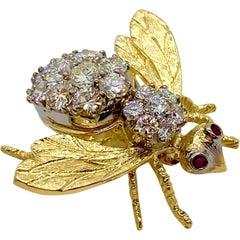 Herbert Rosenthal 18 Karat Diamond and Ruby Bumble Bee Brooch Pin