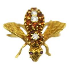 Herbert Rosenthal 18 Karat Gold Citrine and Diamond Honey Bee with Ruby Eyes