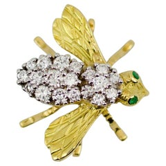 Herbert Rosenthal 18k Yellow Gold Round Diamond Body with Emerald Eyes Bee Pin